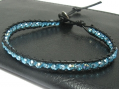 Fashion Leather Bracelet With Glass Stones