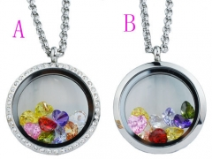 30cm Stainless Steel  Locket Pendant With Zircon
