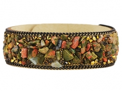 Fashion Leather Bracelet With Stones