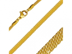 Stainless Steel Gold Flat Mesh Link Chain For Pendant