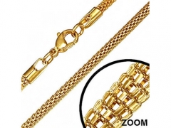 Stainless Steel Gold Round Mesh Link Chain For Pendant