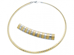 Stainless Steel Choker Satin Finish And 2 Tone