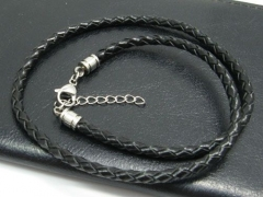 Braided Leather Cable with Stainless Steel Closure