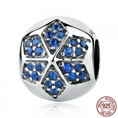 Authentic 925 Sterling Silver Blue Crystals Flower Round Bead Charms fit Bracelets Women Beads & Jewelry Makings SCC103