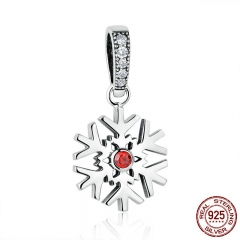 Hot Sale 100% 925 Sterling Silver Red Stone Snowflake Bead Charms fit Women Charm Bracelets Necklaces Accessories SCC075