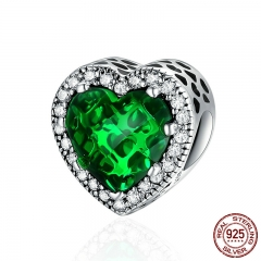 100% 925 Sterling Silver Green Radiant Hearts Charms Beads fit Original Charm Bracelet Jewelry Girlfriend Gift PSC137
