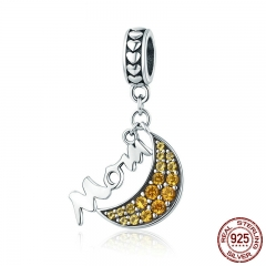 New Trendy 925 Sterling Silver Mom Mother Gift in Yellow Moon Dangle Charm fit Charm Bracelet Necklaces Jewelry SCC687