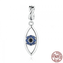 New Arrival 925 Sterling Silver Dark Blue Wicked Eye Pendant Charms Fit Charm Bracelets 925 Silver Fashion Jewelry SCC083