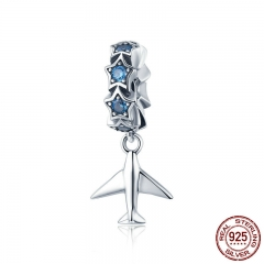 100% 925 Sterling Silver Fashion Travel Plane Stackable Dazzling Blue CZ Charms fit Charm Bracelet DIY Jewelry SCC882