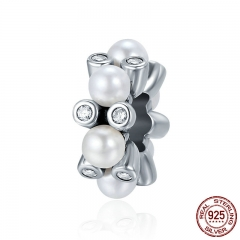 Trendy New 100% 925 Sterling Silver Glittering Tender Blossom Spacer Beads fit Women Charm Bracelets DIY Jewelry SCC285