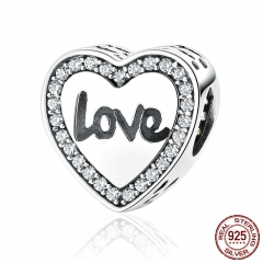 4 Styles 925 Sterling Silver Love Heart Life Round Alphabet Charms Fit Bracelets Necklaces Women Fashion Jewelry SCC089