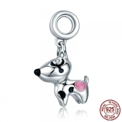 Authentic 100% 925 Sterling Silver Cute Puppy Doggy Dog Animal Pendant Charms fit Bracelets DIY Fine Jewelry SCC417
