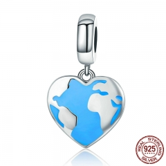 Genuine 925 Sterling Silver Travel Dream Map in Heart Dangle Charms fit Bracelets & Necklaces Jewelry Accessories SCC351