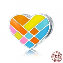 Authentic 100% 925 Sterling Silver Color Enamel Heart Charm Beads fit Charm Bracelet & Bangles DIY Jewelry Making SCC621