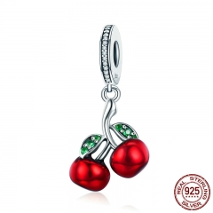 Trendy 925 Sterling Silver Fruit Red Enamel Cherry pendant Charm Fit Women Bracelets & Necklaces Fashion Jewelry SCC784