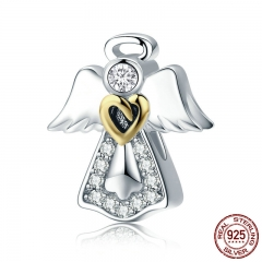 Trendy New 925 Sterling Silver Guardian Angel Charm Beads fit Bracelets & Necklaces Clear CZ DIY Jewelry Making SCC747