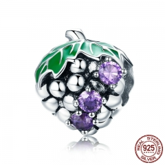 New Arrival Genuine 925 Sterling Silver Purple CZ Summer Grape Fruit Beads fit Bracelet Necklaces DIY Jewelry BSC012