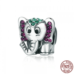 Fashion 100% 925 Sterling Silver Lucky Elephant Sparkling CZ Animal Beads fit Women Charm Bracelet Jewelry Gift SCC200