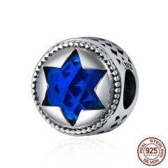 High Quality 100% 925 Sterling Silver Fantasy Hexagram Blue Crystal Beads fit Charm Bracelets Women DIY jewelry SCC282