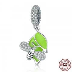 Authentic 925 Sterling Silver Bee with Green Tree Leaves CZ Charm Beads fit Charm Bracelets DIY Jewelry Making BSC002
