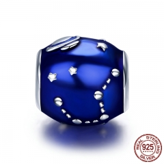 Authentic 100% 925 Sterling Silver Galaxy Star & Moon Blue Enamel Charm Beads fit Original Bracelet DIY Jewelry SCC444
