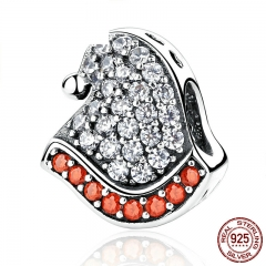 Lovely 925 Sterling Silver Red & White Christmas Hats Bead Charms fit Women Bracelets Fine Jewelry Christmas Gift SCC071