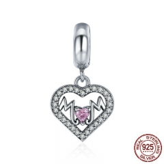 Pure 100% 925 Sterling Silver Sweet Heart to MOM Pendant Charm fit Women Charm Bracelet Beads Jewelry Mother Gift SCC392