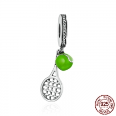 Fashion Design 925 Sterling Silver Tennis Ball Passion Sports Pendant Charms fit Women Charm Bracelets DIY Jewelry SCC335