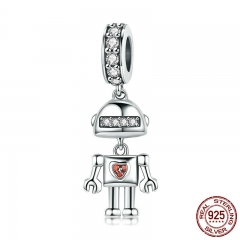 Hot Sale Genuine 925 Sterling Silver Childhood Robot Pendant Charms fit Women Bracelets & Necklace DIY Jewelry SCC842