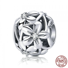100% 925 Sterling Silver Flourishing Flowers Charm Beads fit Women Charm Bracelets & Necklaces Jewelry Making SCC729