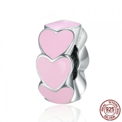 100% 925 Sterling Silver Romantic Stackable Pink Heart Spacer Beads fit Charm Bracelet Jewelry Girlfriend Gift SCC287
