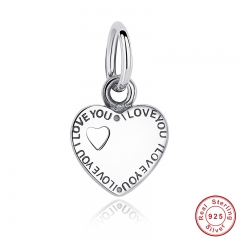 Gift You & Me HEART SILVER DANGLE Romantic Lovely Warm Gift Charm Fit Original Bracelet Pure 925 Sterling Silver Beads PAS135