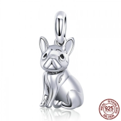 New Arrival 925 Sterling Silver Trendy French Bulldog Pendant Charms fit Bracelet Necklace DIY Accessories Jewelry SCC714