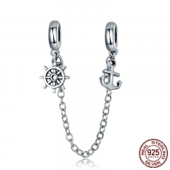 New Arrival 925 Sterling Silver Voyage Anchor & Rudder Safety Chain Stopper Charm fit Bracelet Bangles Jewelry SCC604