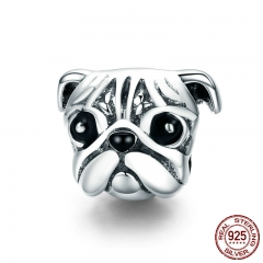 100% 925 Sterling Silver Lovely Animal Pug Dog Head Charm Beads fit Women Charm Bracelets & Necklaces DIY Jewelry SCC834