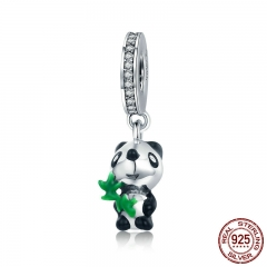 Authentic 925 Sterling Silver Cute Panda with Bamboo Charm Pendant fit Charm Bracelet for Women DIY Jewelry Making SCC548