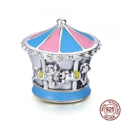 100% 925 Sterling Silver Merry-Go-Round Color Enamel Charm Beads fit Charm Bracelet & Bangles DIY Jewelry Making SCC706