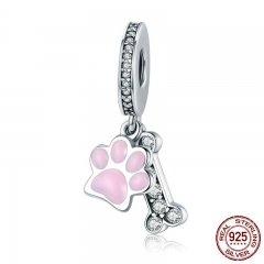 Fashion New 925 Sterling Silver Animal Dog Footprint & Dog Bone Pendant Charm fit Women Bracelet DIY Jewelry SCC452