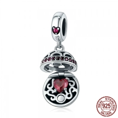 100% 925 Sterling Silver Love Gift Box Dangle Ball Charm red CZ Charms Fit Bracelets & Necklaces DIY Jewelry SCC689-A