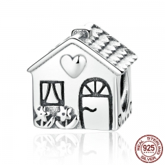 Authentic 925 Sterling Silver Love Heart House Charms Fit Bracelets Families Gift Fine Jewelry PAS341