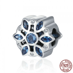 Real 925 Sterling Silver Glittering Snowflake Blue Clear CZ Beads fit Original Charm Bracelet DIY Fine jewelry SCC386