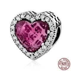 Romantic Charms 925 Sterling Silver Heart Stone Pink Beads Fit Bracelets & Necklaces Women Fashion Accessories PSC055