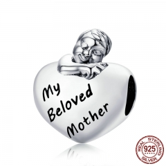 Authentic 925 Sterling Silver My Beloved Mother Engrave Baby Girl Boy in Heart Beads fit Bracelet Jewelry Gift Mom SCC651