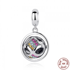 New Fashion 925 Sterling Silver Crystals Round Pendant Charms fit Bracelets Friendship Gift SCC025