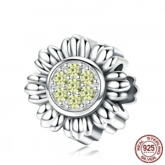 New Arrival 925 Sterling Silver Charm Sunflower Flower Dazzling CZ Beads fit Women Charm Bracelets DIY Jewelry BSC018