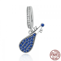 925 Sterling Silver Blue Musical Instrument China Lute Pendant Charms fit Bracelets Women Fashion Jewelry SCC112