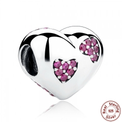 New 925 Silver Pink Crystals Heart Charms fit Bracelets for Women DIY Accessories SCC012