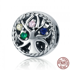 High Quality 925 Sterling Silver Colourful Tree of Life Dazzling CZ Beads fit Women Charm Bracelets Jewelry Gift SCC213