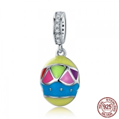 New Arrival 100% 925 Sterling Silver Colorful Enamel Easter Eggs Charm fit Women Charm Bracelet & Necklace Jewelry SCC578