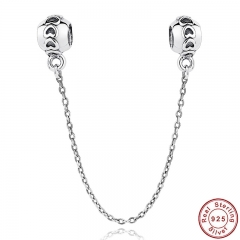 925 Sterling Silver Love Connection Safety Chain Charm Fit Bracelet Heart Shaped Sterling Silver Jewelry PAS032